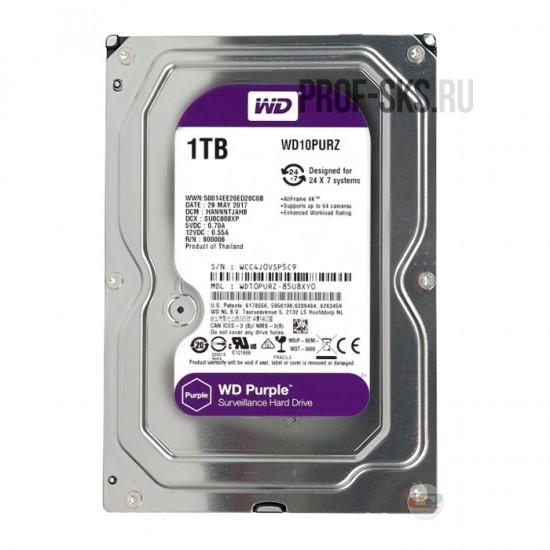 Жесткий диск HDD 1000 GB SATA-III Purple - WD10PURZ
